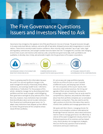 The Five Governance Questions Issuers and Investors Need to Ask